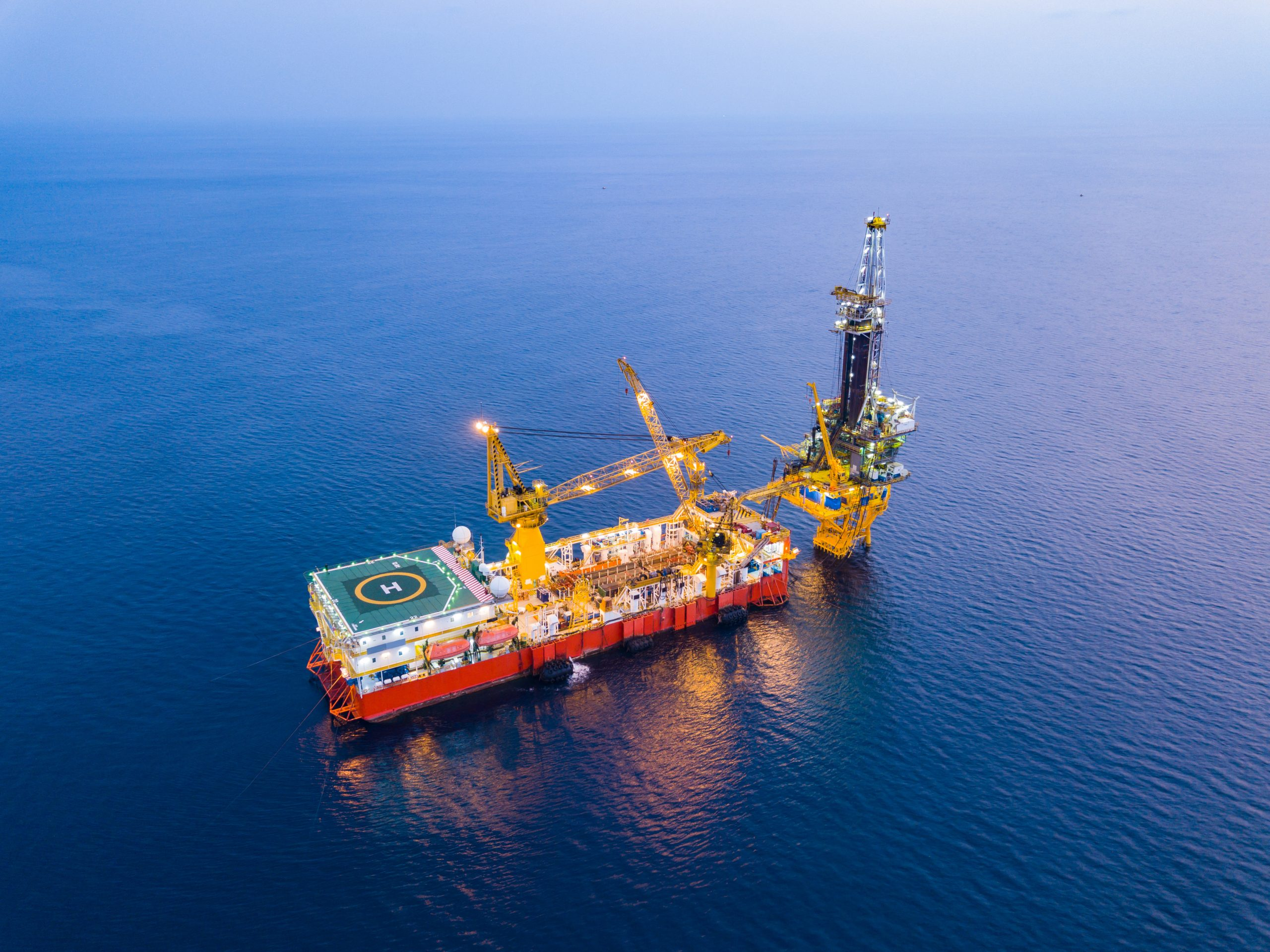 Aerial View of Tender Drilling Oil Rig